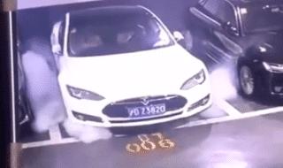 shanghai tesla prende fuoco video