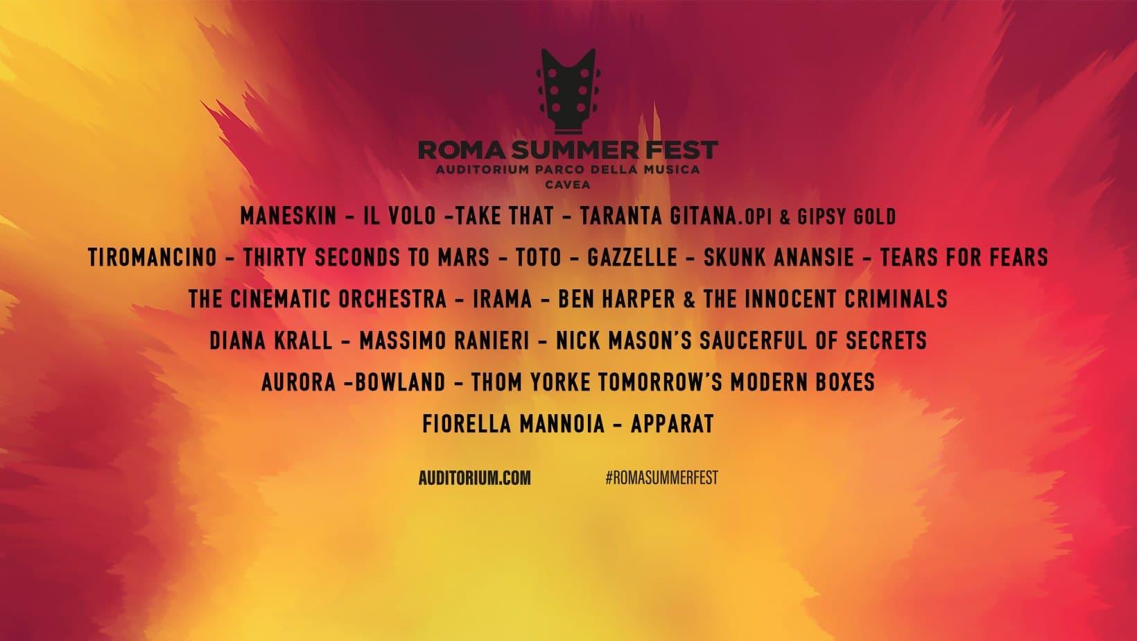 Roma Summer Fest 2019 programma