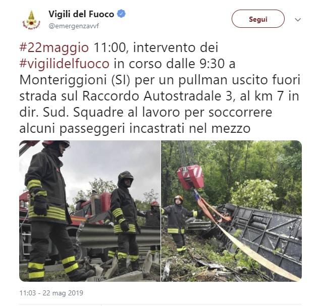incidente bus siena monteriggioni