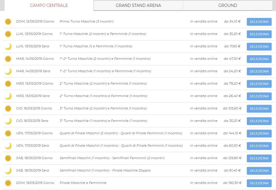 internazionali tennis roma biglietti 2019 campo centrale