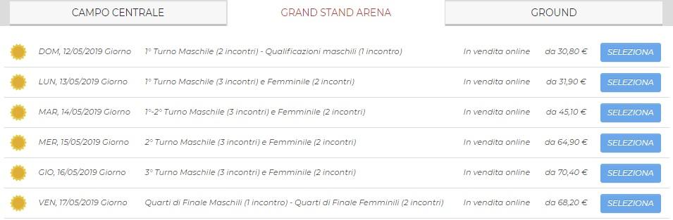 internazionali tennis roma biglietti 2019 grand stand arena