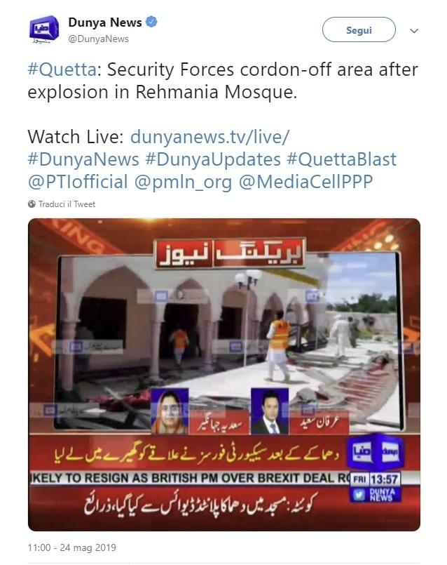 pakistan esplosione moschea quetta