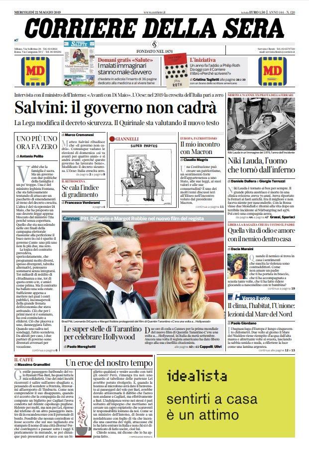 prime pagine quotidiani 22 maggio 2019 corriere sera