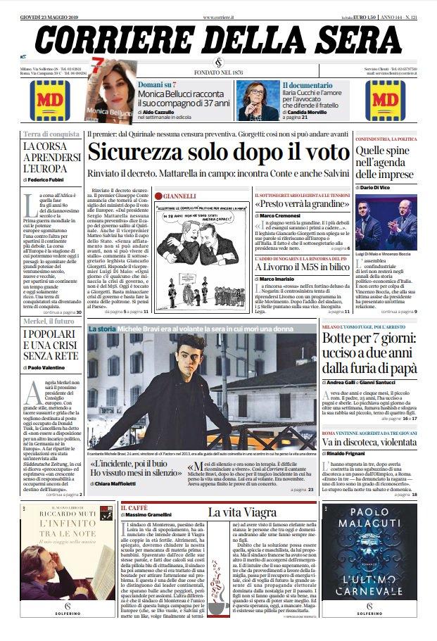 Prime Pagine Quotidiani Oggi Giovedì 23 Maggio 2019 Giornali