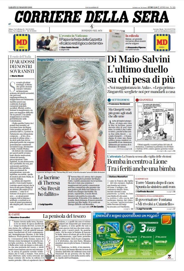 Prime Pagine Quotidiani Oggi Sabato 25 Maggio 2019 Giornali