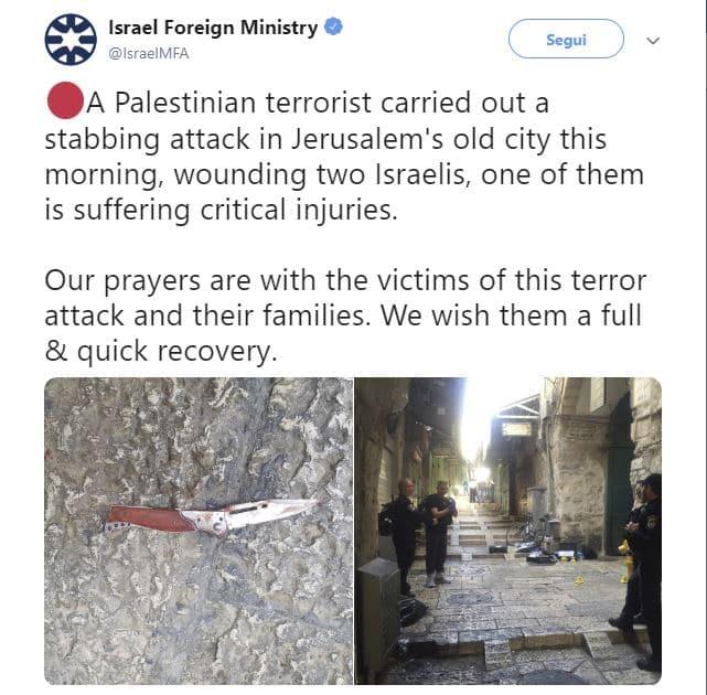 gerusalemme israeliani feriti palestinese