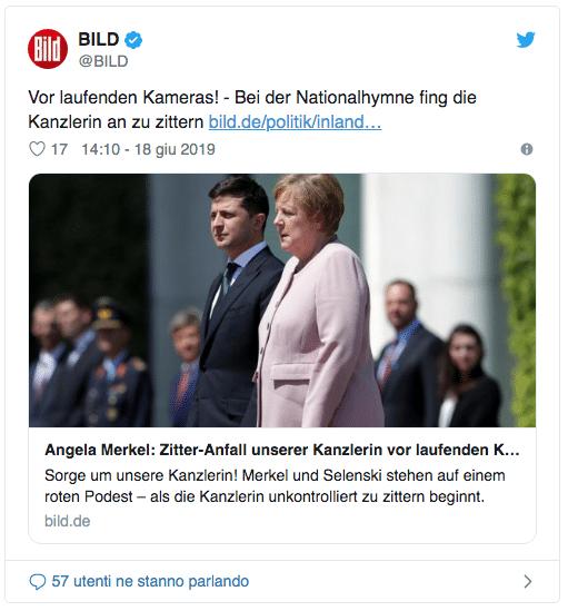 Malore per Angela Merkel durante la cerimonia