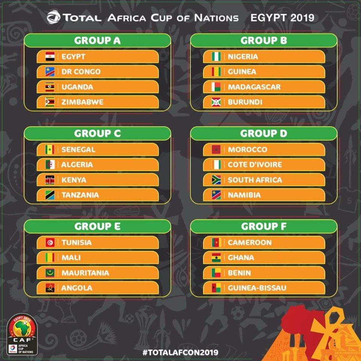 Calendario Coppa Dafrica.Coppa D Africa 2019 Gironi Squadre Nazionali Partite