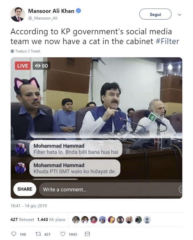 governo pakistan facebook filtro gatto