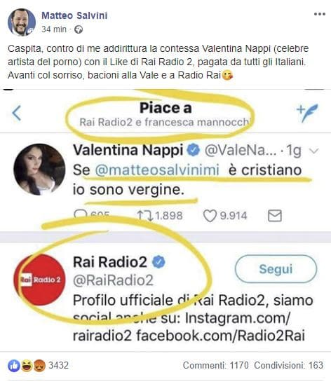 Matteo Salvini contro Rai Radio2 per un like alla pornostar Valentina Nappi