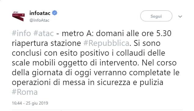 metro repubblica roma riapertura
