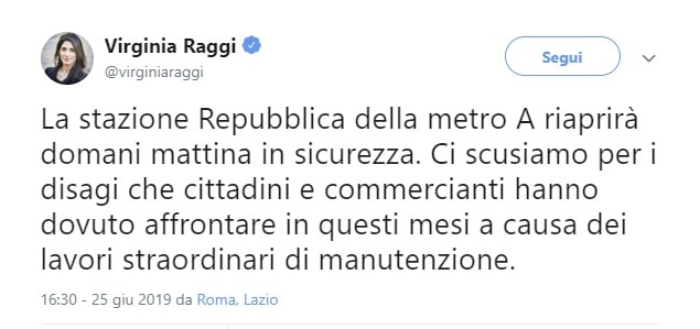 metro roma repubblica riapertura