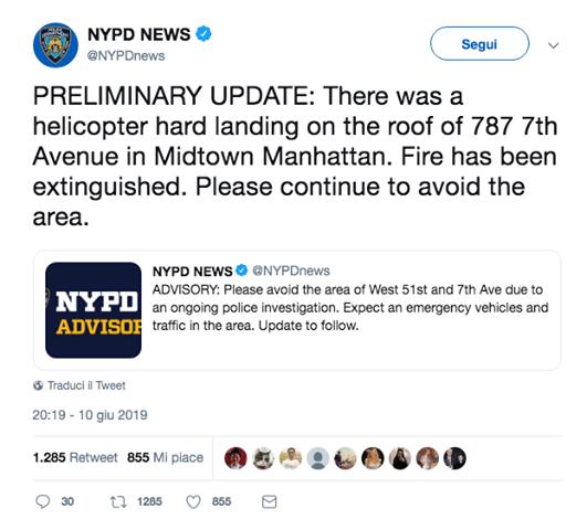 new york elicottero contro palazzo