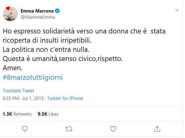 Emma-Marrone-risposta-insulti-Carola-Rackete