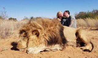 coppia cacciatori leone morto