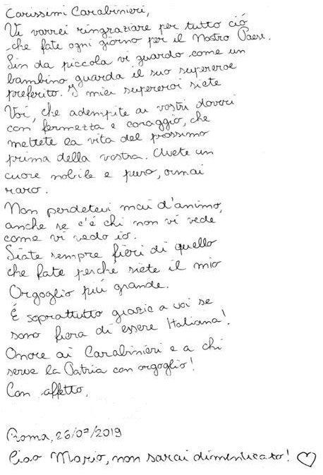 lettera bambina carabinieri