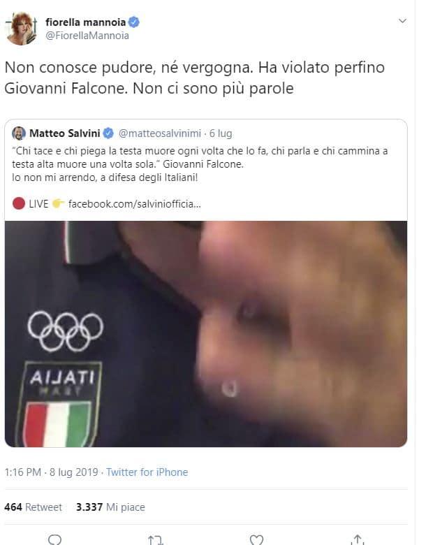 Fiorella Mannoia contro Salvini
