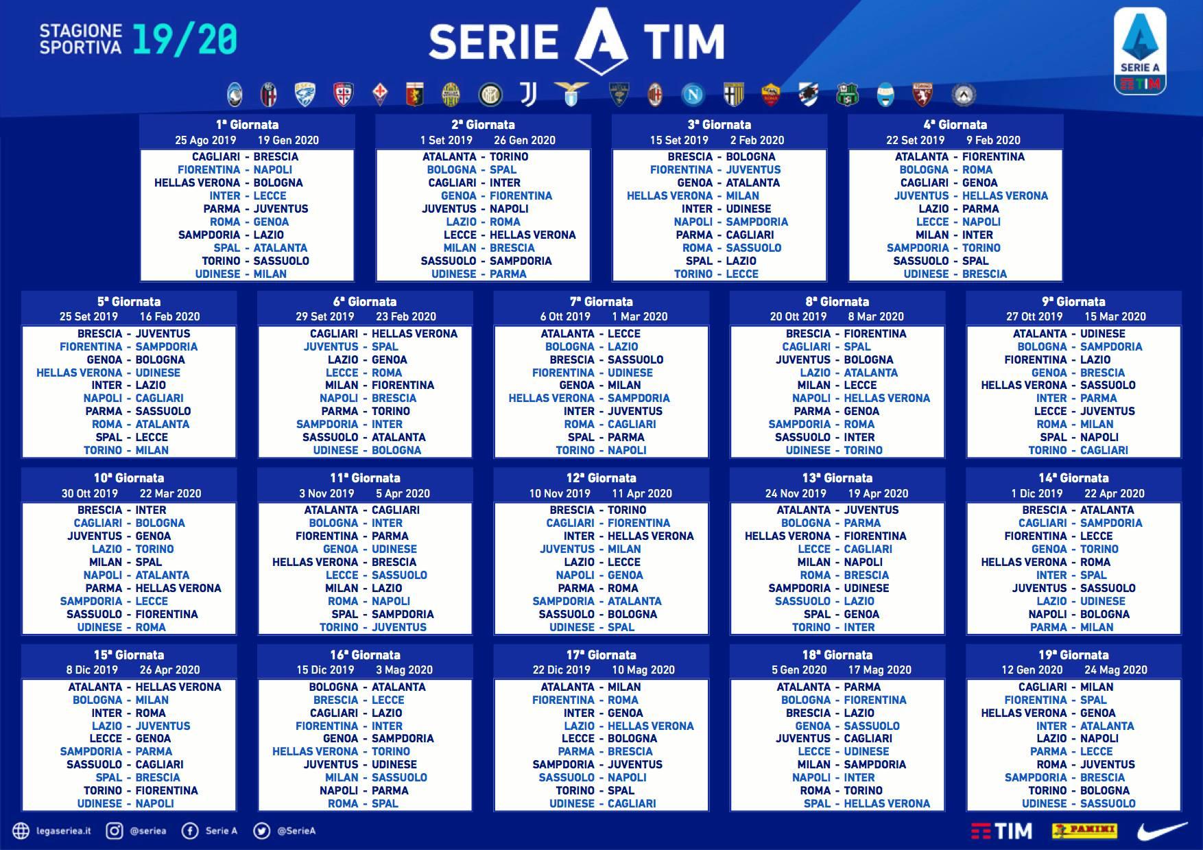 Calendario 2020 Settimanale Da Stampare.Calendario Serie A 2019 2020 Tutte Le Partite Date Andata