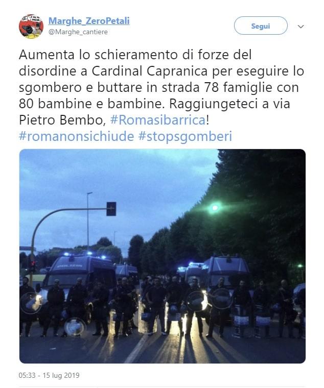 Intervento di sgombero in palazzo a Roma