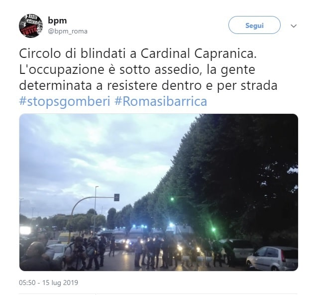 Al via sgombero dentro ex scuola Cardinal Capranica a Primavalle