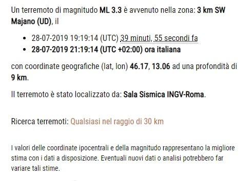 terremoto oggi udine