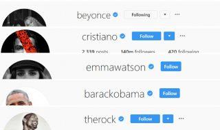 Instagram follower Celebrità