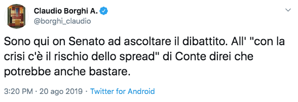 Claudio Borghi discorso conte