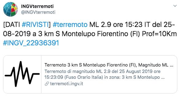 Terremoto oggi Firenze
