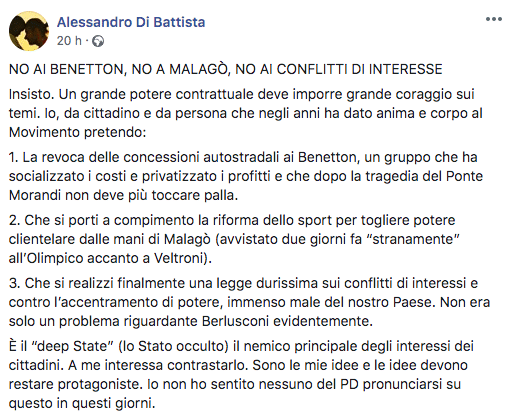 Di Battista non vuole l'accordo con il PD e apre alla Lega