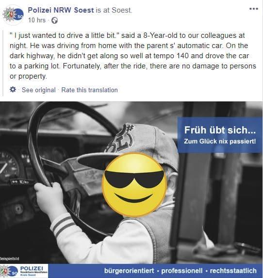bambino guida autostrada