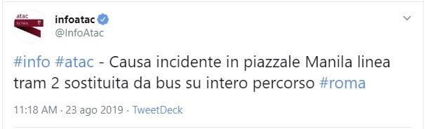 incidente tram roma