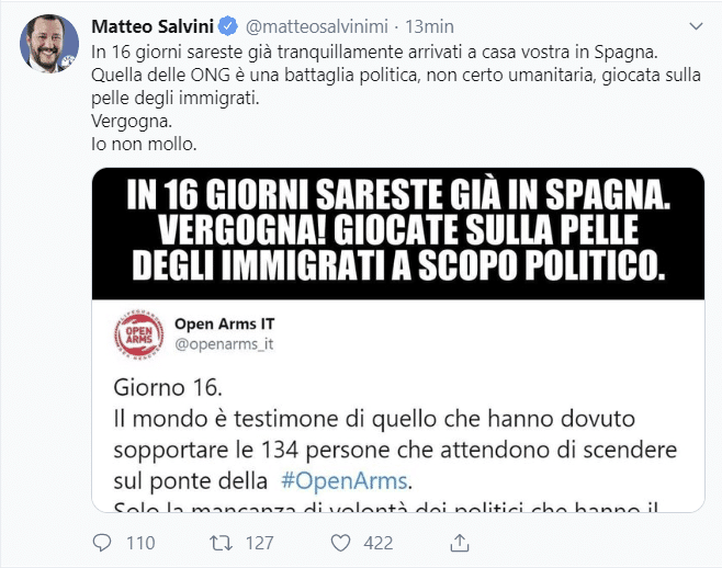 Open Arms, sbarcati 27 migranti. Salvini: