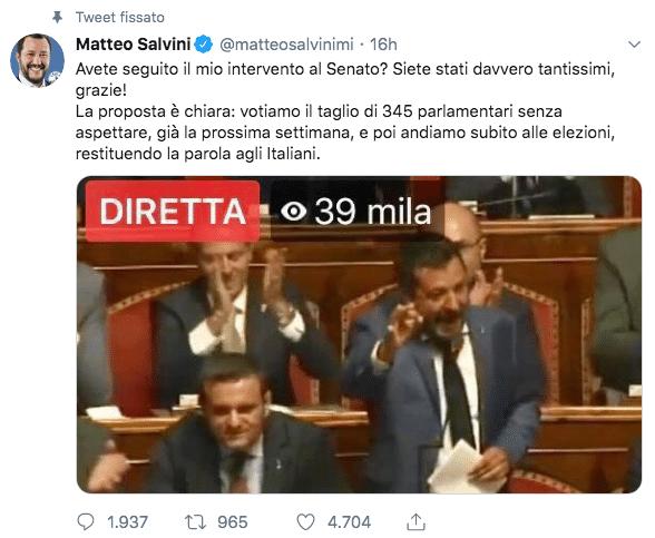 tweet salvini taglio parlamentari