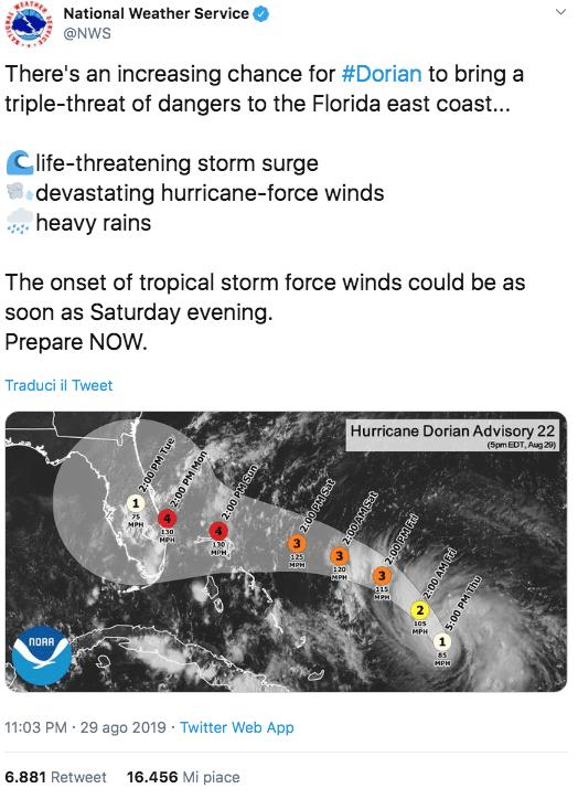 uragano floridan stati uniti