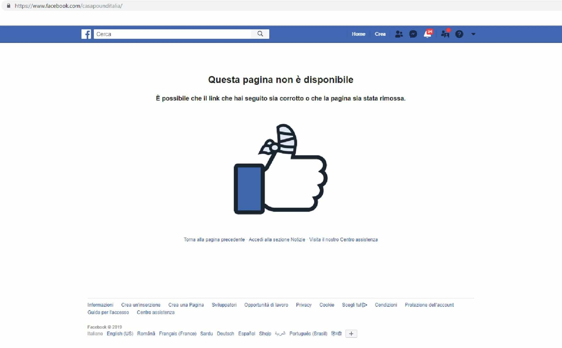 casapound facebook fascismo