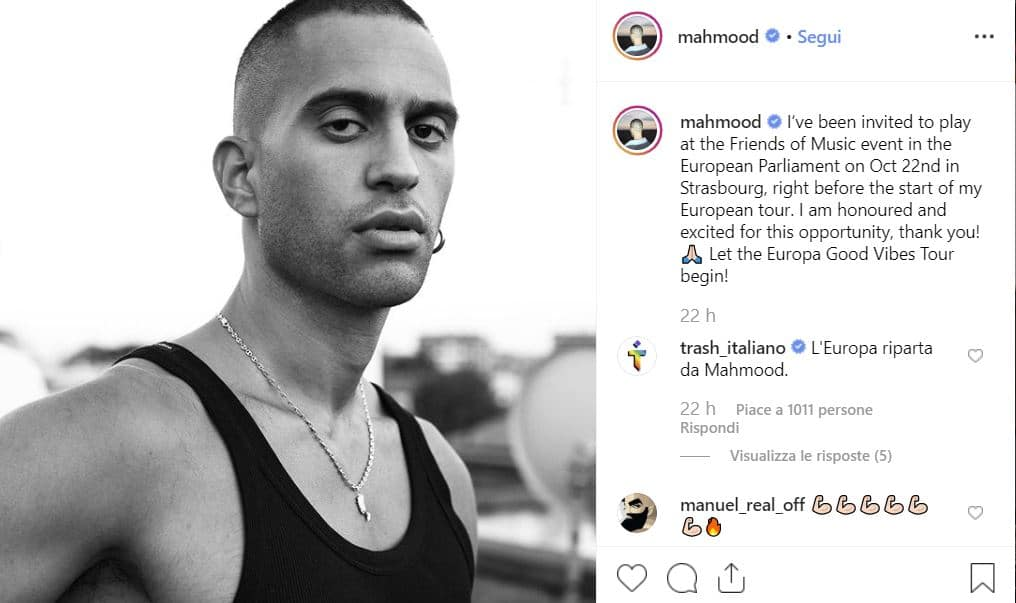 """Mahmood arriva fino al Parlamento Europeo: """"Sono onorato ed emozionato"""""""