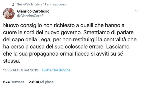 tweet carofiglio contro salvini