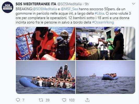 Ong, nave Ocean Viking preleva 50 migranti
