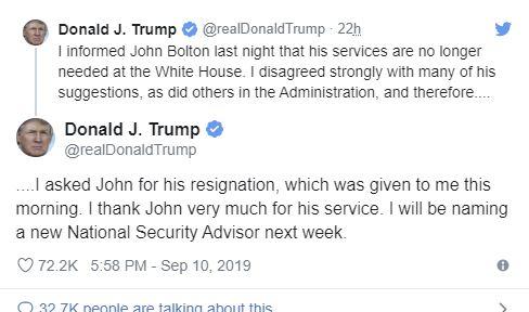 Trump licenzia il 'falco' Bolton