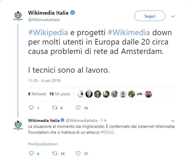 wikipedia down oggi