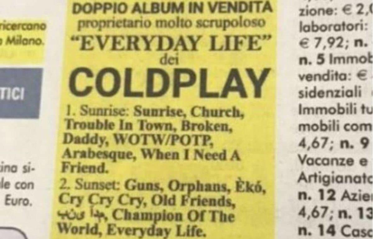 Coldplay, il 22 novembre esce Everyday Life