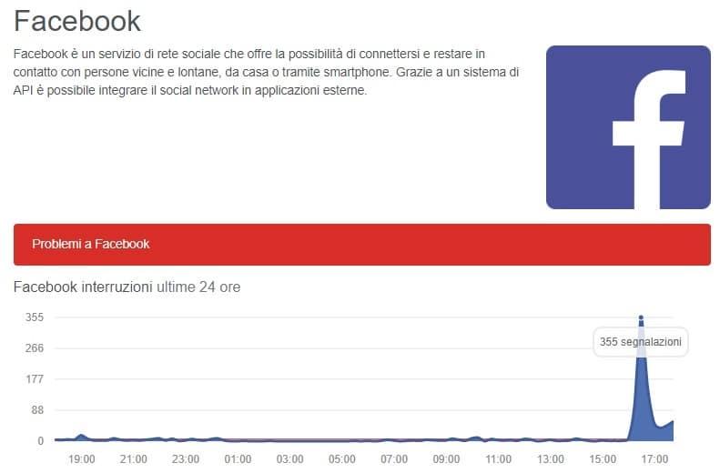 facebook down oggi