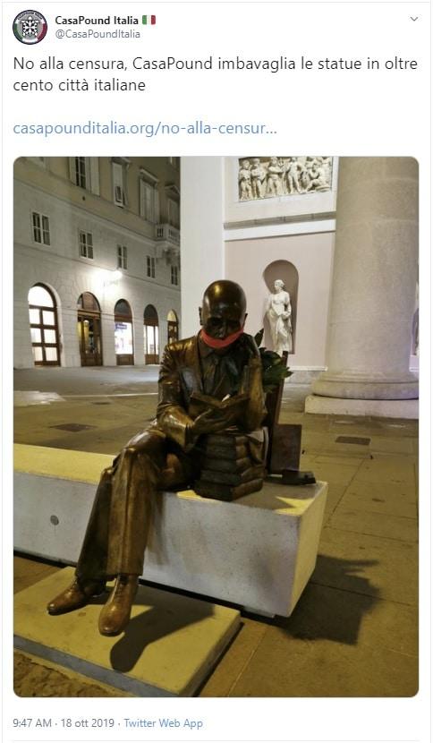 protesta casapound statue imbavagliate