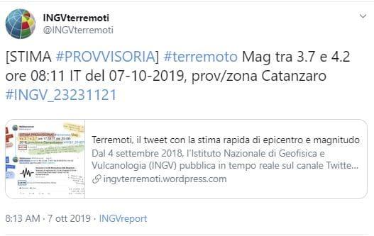 Terremoto di magnitudo 4 a Catanzaro, cittadini per strada
