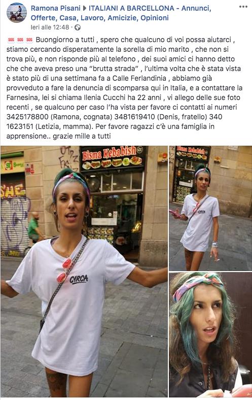 ragazza italiana scomparsa barcellona