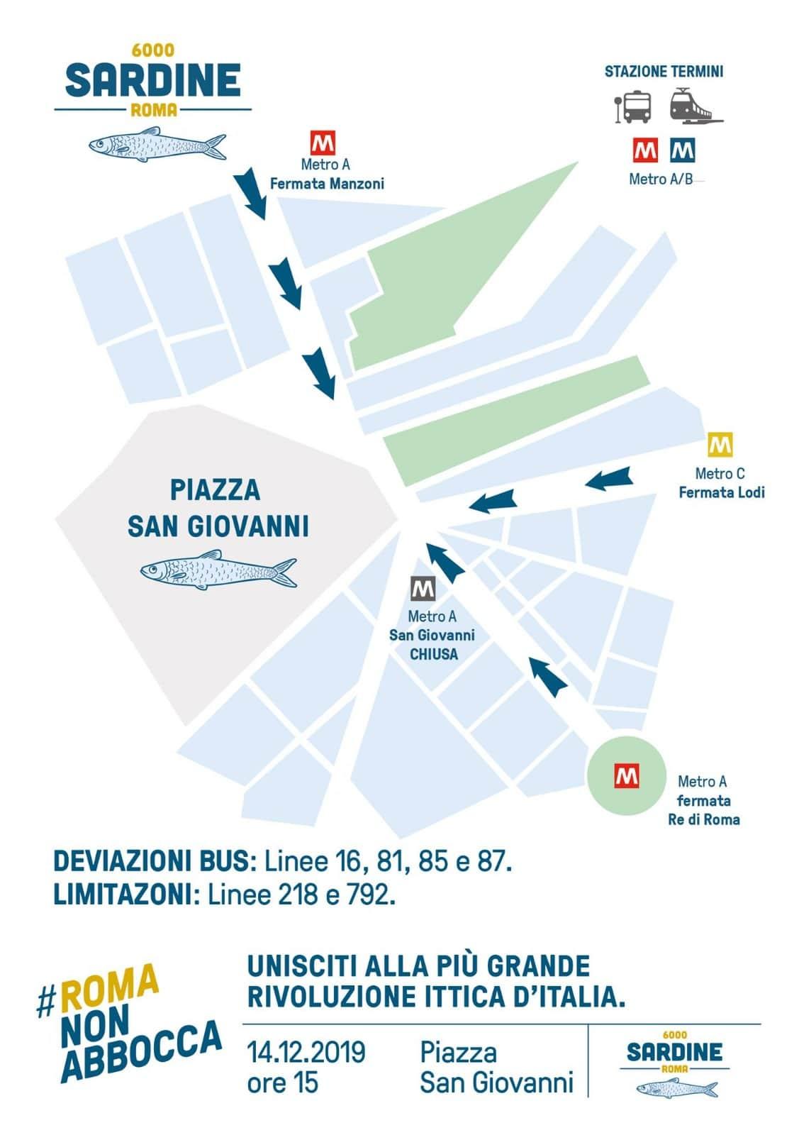 Manifestazione nazionale Sardine a Roma: diretta LIVE stream