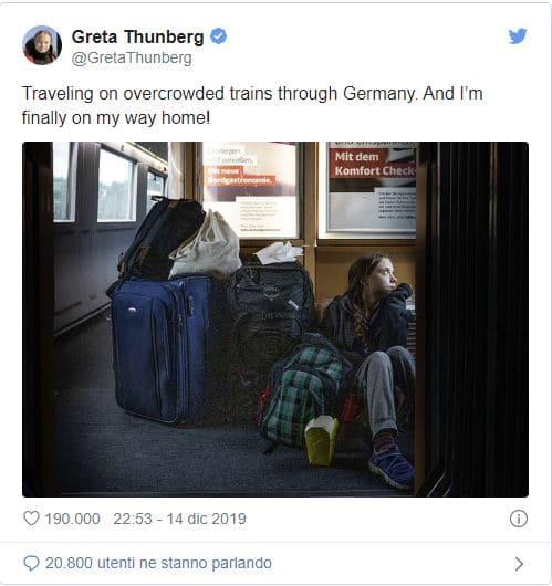 Greta Thunberg: treni pieni, un buon segno