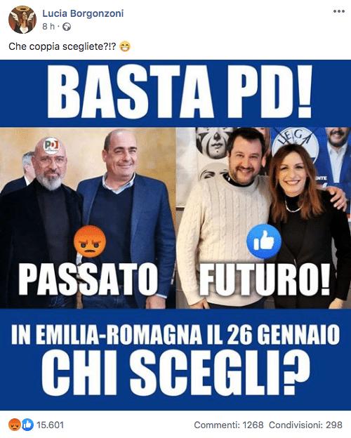 Borgonzoni sondaggio facebook