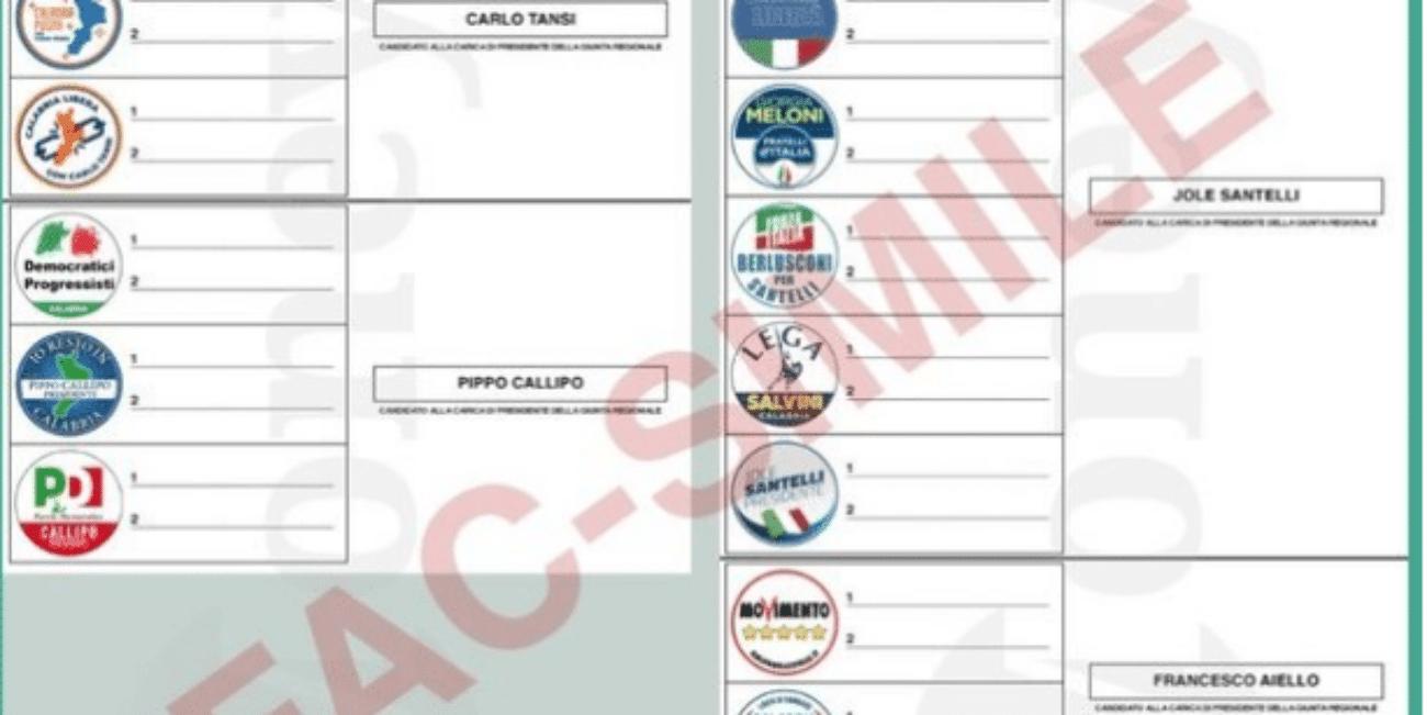 Elezioni regionali Calabria 2020: la scheda elettorale