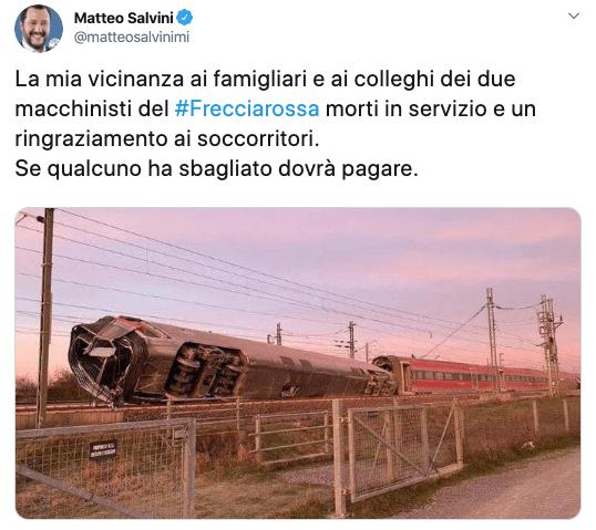 treno frecciarossa deragliato